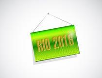 Rio 2016 hanging banner sign illustration. Design over a white background royalty free illustration