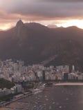 Rio Harbor And Christ Redeemer Arkivbild