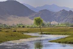 Rio Indus que corre através de planícies em Ladakh, Índia, foto de stock