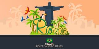 Rio 2016 jeux Voyage au Brésil beau chiffre dimensionnel illustration trois du sud de 3d Amérique très Statue du Christ le rédemp Photos stock
