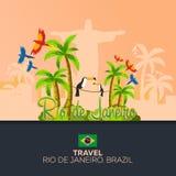 Rio 2016 jeux Voyage au Brésil beau chiffre dimensionnel illustration trois du sud de 3d Amérique très Statue du Christ le rédemp Photo stock