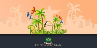 Rio 2016 jeux Voyage au Brésil beau chiffre dimensionnel illustration trois du sud de 3d Amérique très Statue du Christ le rédemp Image stock