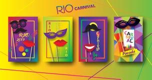 RIO Karnawałowi świąteczni plakaty ustawiający ostatki, Brazylijski festiwalu znaka szablon ilustracja wektor