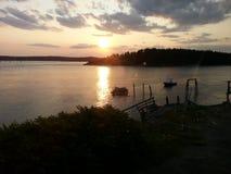 Rio Kennebec Georgetown do por do sol de Maine Imagens de Stock Royalty Free