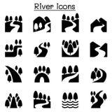 Rio, lago, ícones da natureza do canal ajustados