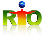 Rio Logo. Brightly coloured 'Rio' Logo with Christ the Redeemer  on white background Stock Photo