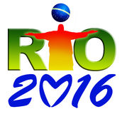 Rio Logo. Brightly coloured 'Rio' Logo with Christ the Redeemer  on white background Stock Photography