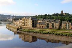 Rio Lune e Quay do St George, Lancaster Foto de Stock
