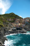 Rio Maggiore. In Italy, Europe. The town is a part of Cinque Terre. 5 villages, connected with a walk trail stock image