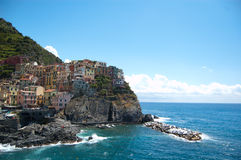 Rio Maggiore. Cinque Terre, Italy.  is a famous tourist hotspot in northern Italy near La Spezia. Five villages are connected by a footpath along the shoreline stock photo