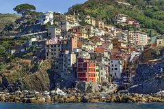 Rio Maggiore, Italy – July 18, 2017: Picturesque view from sea on the Rio Maggiore in the Cinque Terre area. Stock Photos