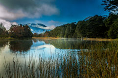 Rio Manso, Patagonia. Rio Manzo in the morning with a light fog. Argentine Patagonia Royalty Free Stock Photography