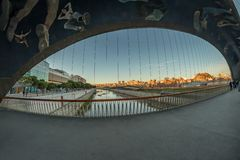Rio Manzanares Bridge Matadero, Madrid image stock