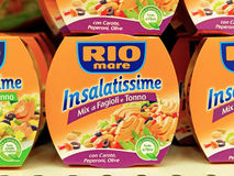 Rio Mare Insalatissime, delicious and balanced ready-to-eat meals. Royalty Free Stock Photo