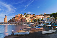 Rio Marina. Back from the beach we are welcomed by the beautiful scenery of Rio Marina, Tuscan seaside resort located on the east side of Elba Island stock photos