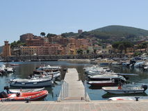 Rio Marina - Elba Island. Rio Marina was a mining city where there were mines to extract hematite. The pier stock images