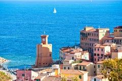 Rio Marina, Isle av Elba, Italien. arkivbild