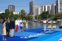 Rio2016 men double sculls winners. Men double sculls Croatian brothers and rowers Valent Sinkovic and Martin Sinkovic on a podium with gold medals next to bronze Stock Images