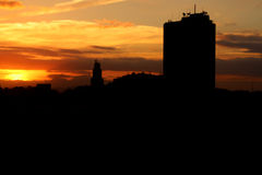 Rio miasta zmierzch obraz stock