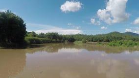 Rio na inundação video estoque