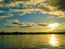 Rio Napo. View at the sunset at Rio Napo Stock Images