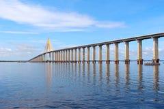 Rio Negro Bridge Manaus, Amazonas Brasilien royaltyfri bild
