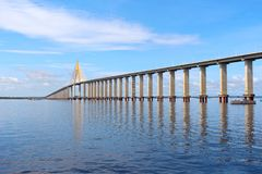 Rio Negro Bridge , Manaus, Amazonas Brazil. Rio Negro Bridge, a cable-stayed bridge over the Rio Negro that connects Manaus and Iranduba in Amazonas, Brazil royalty free stock image