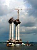 Rio Negro. Building the Rio Negro Bridge in Manaus, Northern Brazil Stock Photo