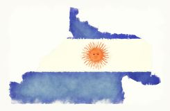 Rio Negro watercolor map with Argentinian national flag in front. Of a white background illustration Royalty Free Stock Photo