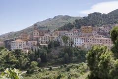 Rio-nell'Elba, Dorf an einem Hügel, Elba, Toskana, Italien Stockfotografie
