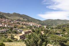 Rio nell'Elba, village at a hill, Elba, Tuscany, Italy Royalty Free Stock Images