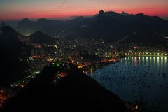 Rio at night. Night time view of the city of Rio de Janeiro Royalty Free Stock Photos