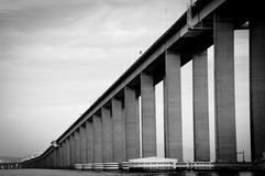 Rio-Niteroi Bridge. Low angle view of Rio-Niteroi bridge over Guanbara Bay, Rio de Janeiro, Brazil Stock Photography