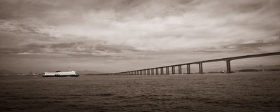 Rio-Niteroi bridge. Panoramic black and white view of Rio de Janeiro to Niteroi bridge over Guanbara Bay, Brazil Royalty Free Stock Images