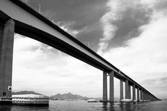 Rio-Niteroi bridge. Black and white scenic view of bridge over Guanbara Bay between Rio de Janeiro and Niteroi, Brazil Royalty Free Stock Photos