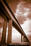 Rio-Niteroi bridge. Sepia underside view of Rio de Janeiro to Niteroi bridge over Guanbara Bay, Brazil Royalty Free Stock Photography