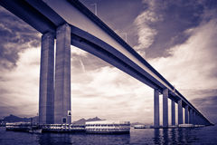 Rio-Niteroi bridge. Underside view of Rio-Niteroi bridge viewed from Guanbara Bay, Rio de Janeiro, Brazil Royalty Free Stock Photography