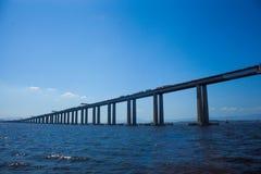 Rio Niteroi Bridge, blue sky and sea. Of the Guanabara Bay in Rio de Janeiro Royalty Free Stock Image