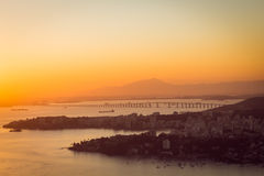 Rio Niteroi Bridge - Sunset. Sunset at the Rio de Janeiro-Niteroi Bridge over Guanabara Bay, Brazil Stock Photo