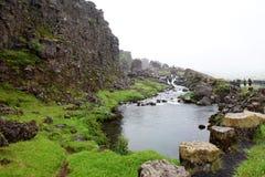 Rio no parque nacional de Þingvellir Fotografia de Stock