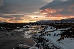 Rio no por do sol, Islândia de Godafoss foto de stock royalty free