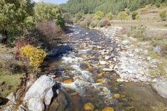 Rio no vale de Chhume, Butão Fotos de Stock Royalty Free