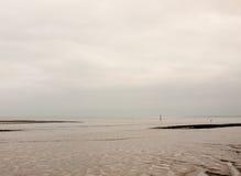 Rio nublado do cinza branco vazio bonito com testes padrões do mudflat Imagens de Stock Royalty Free