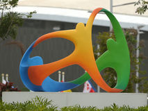 Rio 2016 official logo in Olympic Park in Rio de Janeiro. RIO DE JANEIRO, BRAZIL - AUGUST 8, 2016: Rio 2016 official logo in Olympic Park in Rio de Janeiro Stock Images