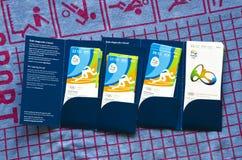 Rio 2016 olimpiad biletów, falcówka i Obrazy Stock