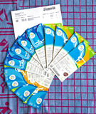 Rio 2016 Olympic event tickets. Rio 2016 Olympics event tickets for gymnastics, rowing and track and field on blue and red terry cloth towel with delivery Royalty Free Stock Photography