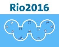 Rio Olympic Games-Abdeckungsdesign Olympische Ringe mit Sommer trägt Ikonen zur Schau Lizenzfreie Stockbilder