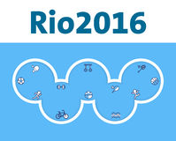 Rio Olympic Games cover design. Olympic rings with summer sports icons. Royalty Free Stock Images