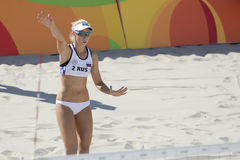 Rio 2016 Olympic Games. Rio de Janeiro, Brazil - august 07, 2016: Ukolova RUS during beach volleyball game between Brazil and Russia in the Rio 2016 Olympic Royalty Free Stock Photos