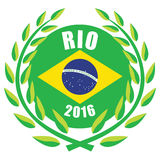 Rio Olympic games 2016. Illustration of 2016 Olympic games with wreath and Brazilian flag Royalty Free Stock Images
